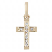 9ct Gold Extra small Channel set Cubic Zirconia cross pendant 0.34g